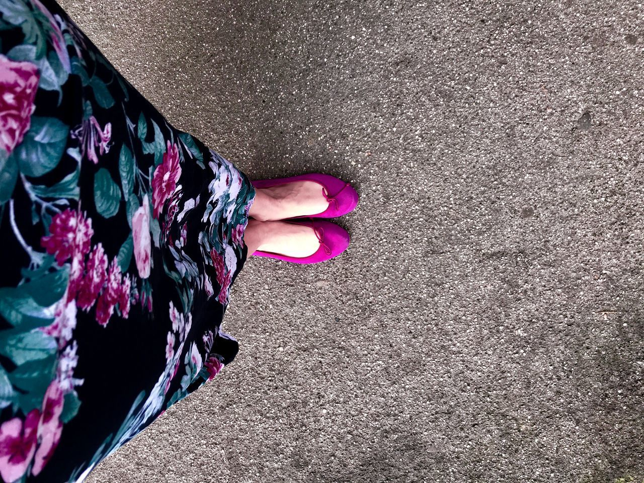 one person, human body part, low section, real people, standing, high angle view, lifestyles, flower, women, day, body part, nature, flowering plant, pink color, human leg, plant, beauty in nature, leisure activity, directly above, outdoors, floral pattern, human foot, flower head