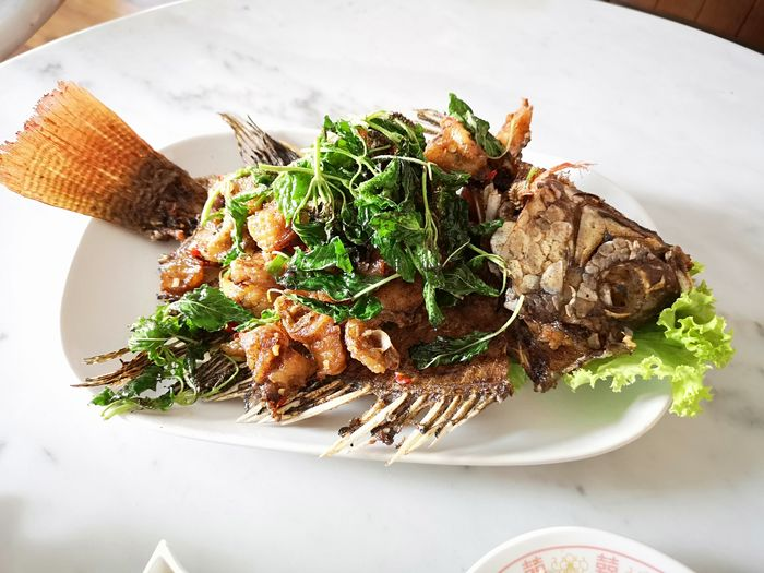 Fried Fish With Mixed Herb City Plate High Angle View Appetizer Close-up Food And Drink Served Noodle Soup