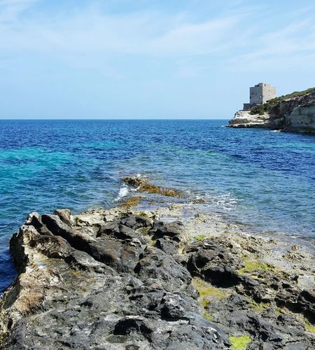 Summer Views Lost In The Landscape Perspectives On Nature MALTA❤ Malta Sky Outdoors Day Water Tranquil Scene No People Sea Physical Geography Scenics Beauty In Nature Nature Rock Formation Rock - Object Freshness Horizon Over Water Landscape Marsaskala Marsascala