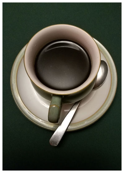 Food And Drink Saucer Plate Indoors  Spoon Green Colour Coffee Black