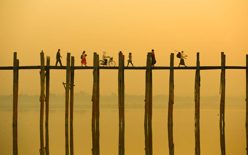 Activity Bridge Myanmar Orange Color Scenics Silhouette Sky Sun Sunset People And Places. Fresh On Market 2016