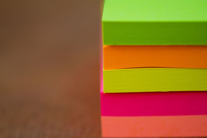 Office Adhesive Note Art And Craft Backgrounds Choice Close-up Copy Space Creativity Equipment Green Color Indoors  Layered Multi Colored No People Note Note Papers Office Orange Color Paper Pattern Pink Color School Studio Shot Variation Yellow
