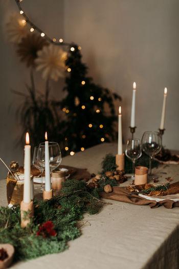 Illuminated christmas decoration on table
