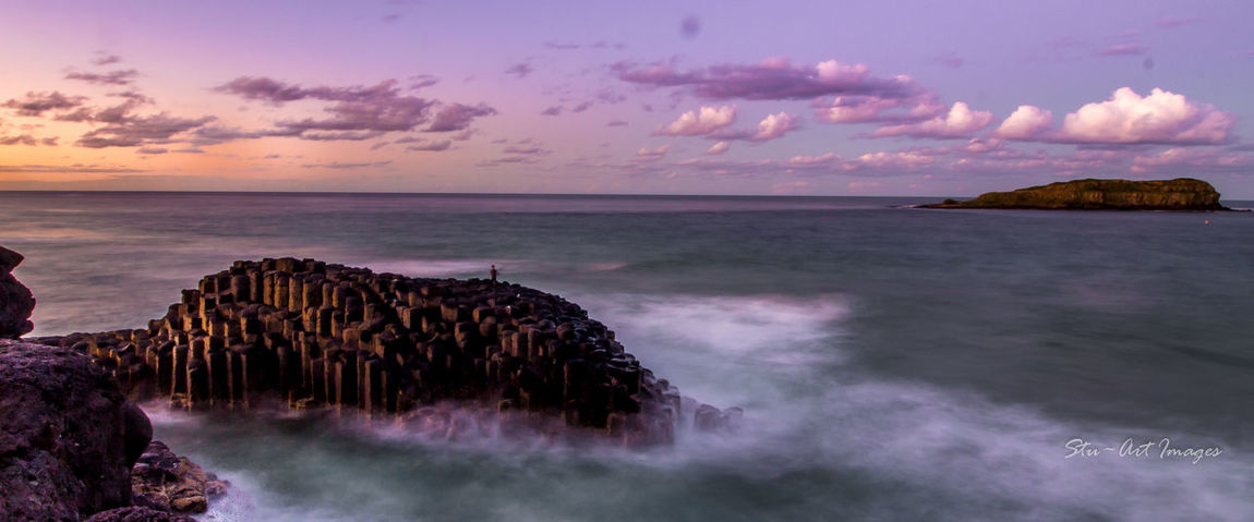 A lone rock fisherman on sunset and a rising tide Long Exposure Clouds And Sky Australia Fingal Head EyeEm Best Shots - Sunsets + Sunrise Sunset #sun #clouds #skylovers #sky #nature #beautifulinnature #naturalbeauty #photography #landscape Water_collection Water Reflections Tweed Heads Fingal Lighthouse