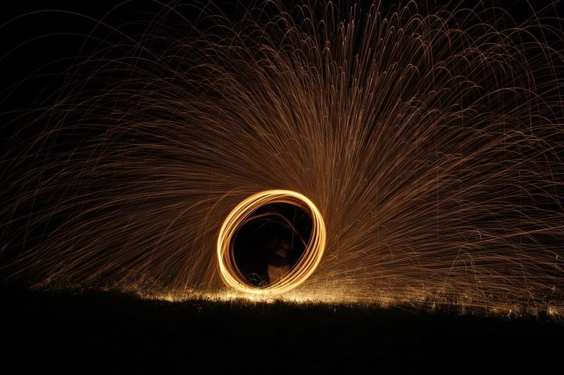 Steel wool no.3 🔥✨ Wire Wool Long Exposure Night Sparks Glowing Motion Spinning Real People Illuminated Lifestyles Outdoors One Person Sky Formation EyeEmNewHere