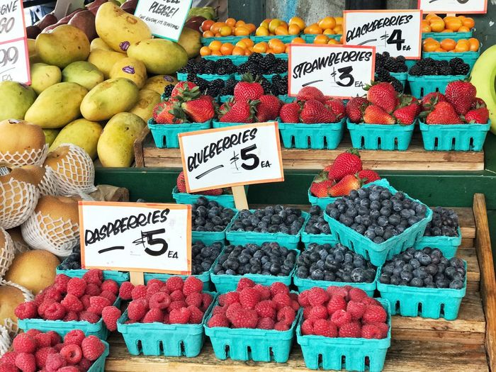 Fruit at Pike Place Market. Fruit Strawberry Healthy Eating Freshness Market Stall For Sale Food Market Blueberry EyeEmNewHere Multi Colored Price Tag Travel Destinations Seattle, Washington Seattle Downtown Blackberry Mango Fruit Variation Spring EyeEmNewHere