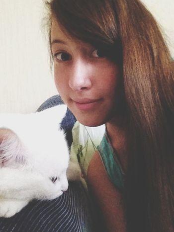 White Cat Girl Russia My Cat