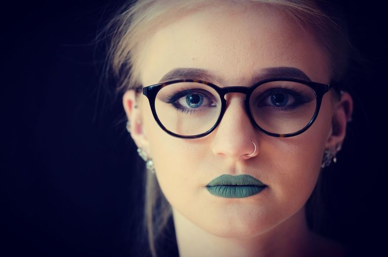 Intense and badass. Looking At Camera Portrait Human Face One Person Beauty Young Adult Beautiful Woman Close-up Headshot Eyeglasses  Women One Woman Only Real People Front View Young Women One Young Woman Only Only Women Green Lips Human Eye Indoors  Nose Piercing Nose Ring Intense Badass Blue Eyes Welcome To Black Welcome To Black The Portraitist - 2017 EyeEm Awards The Portraitist - 2017 EyeEm Awards