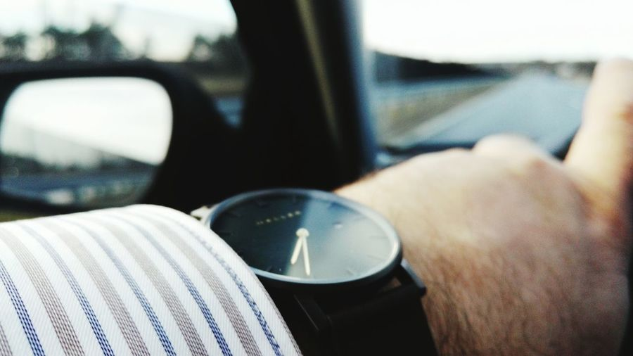Time Car Side Mirror On The Road Human Hand Human Body Part Outdoors Only Men Close-up