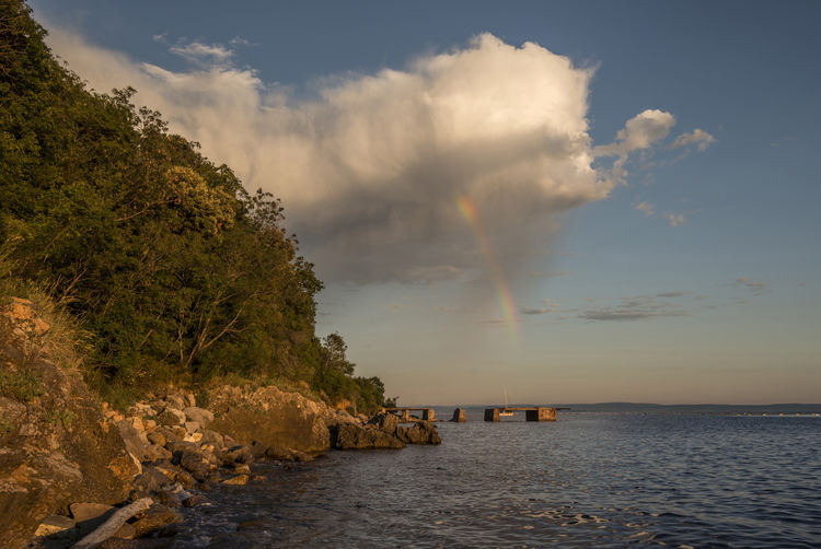 Scenic view of rainbow and sea