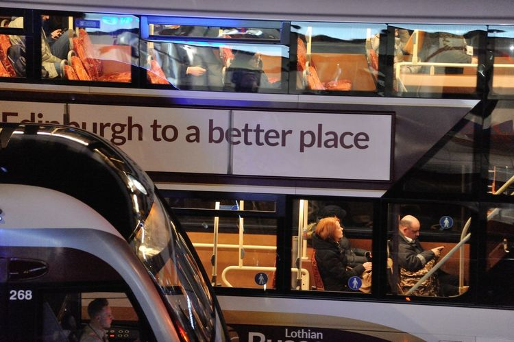 Heading home on the bus - Princes Street, Edinburgh Edinburgh Scotland Bus City Commute Commuters Mode Of Transportation Night Public Transportation Transportation Travel Window