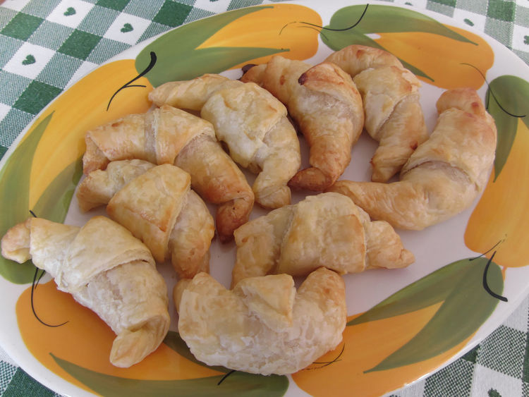 Small homemade salty croissants stuffed with frankfurter sausage Appetizer Baked Bread Brioche Bun Continental Croissant Crust Dough Flaky Food Frankfurter Gourmet Group Homemade Many Meal Pastry Salty Sausage Several Small Snack Starter Stuffed