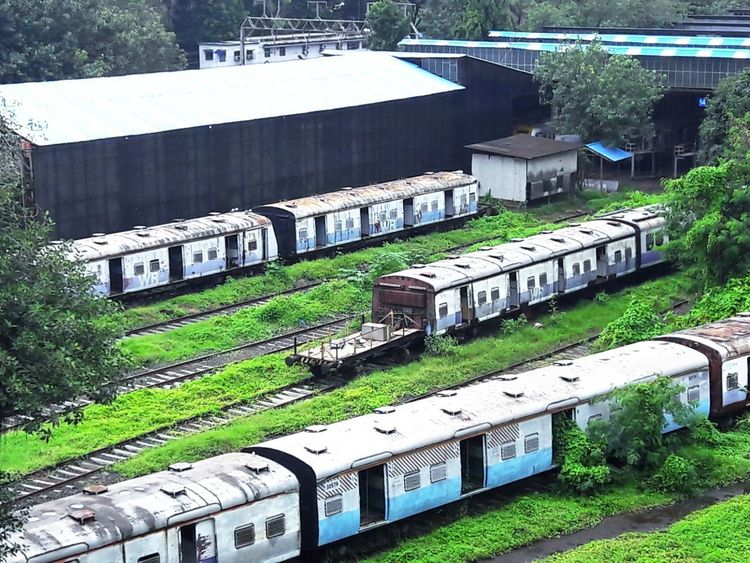 High Angle View Green Color No People Train Tracks Coach Scrap Yard Trainboggie Mobility In Mega Cities