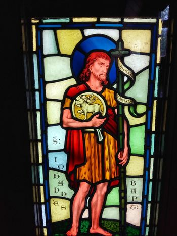 stained glass window from 1877 Christian Chaple Spirituality Multi Colored Close-up Stained Glass Human Representation Idol Art