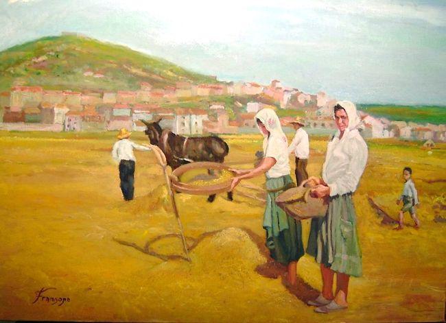 La trilla Arte Lifestyles Outdoors Pintura Pueblo Rural Scene Trabajo Trigo