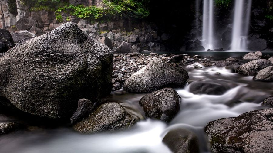 View of waterfall in rocks