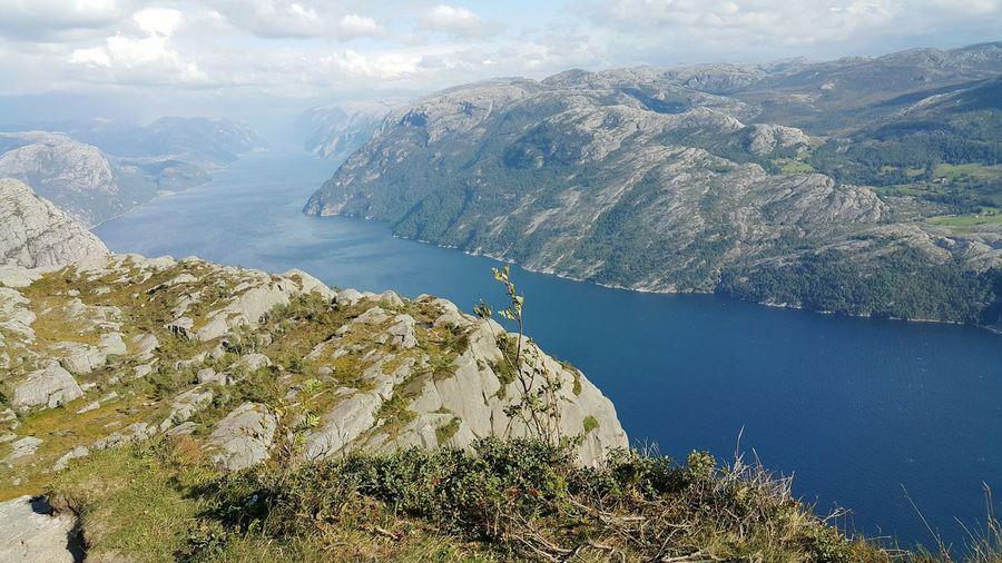 Idyllic Shot Of Lysefjord Amidst Mountains Seen From Preikestolen