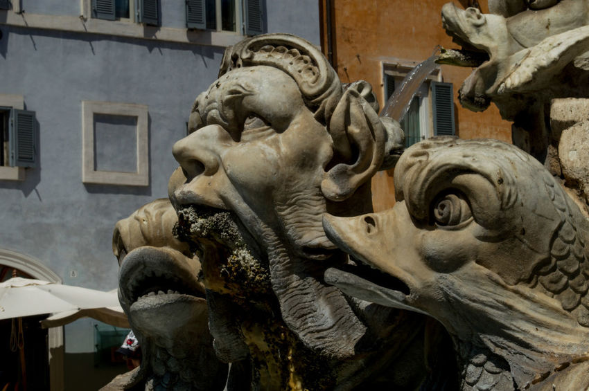 Fountain Rome Ugly Art Building Exterior Close-up Day Frightening Gargoyle History Human Representation Italy No People Outdoors Sculpture Statue
