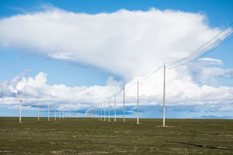 Sky Cloud - Sky Environment Nature Day Landscape Land Electricity  No People Fuel And Power Generation Beauty In Nature Tranquil Scene Vertebrate Technology Tranquility Animal Themes Scenics - Nature Plant Field Electricity Pylon