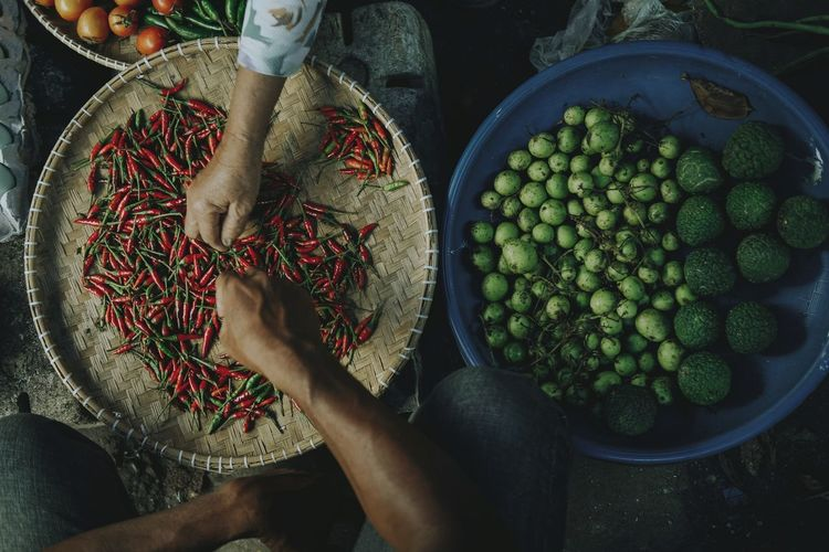 Directly above shot of people holding red chilis