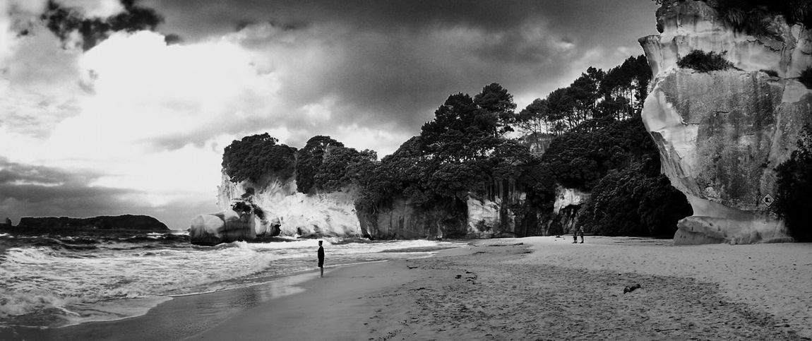 Beach Beauty In Nature Cathedral Cove Cloud - Sky Day Full Length Leisure Activity Men Nature One Person Outdoors People Real People Sand Scenics Sea Sky Standing Tree Water Wave