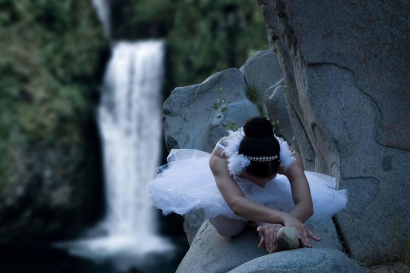 High angle view of ballet dancer on rock