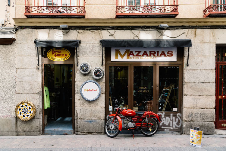 Vintage motorbikes shop Barrio City Centre Cityscape European  Madrid SPAIN Travel Architecture Barrio De Las Letras Building Building Exterior Built Structure Capital Cities  City Day Europe Motorbike No People Outdoors Shop Store Street Tourism Urban Vintage