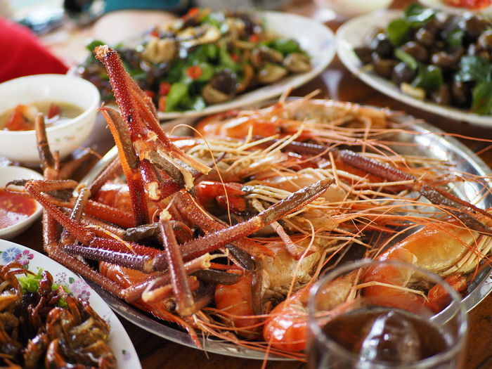 High angle view of seafood on table
