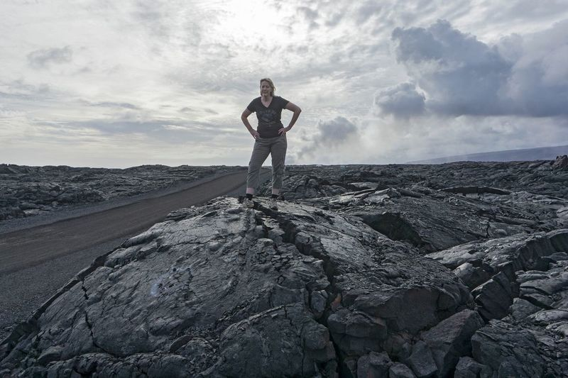 Lava Field Sky Cloud - Sky Standing One Person Real People Full Length Leisure Activity Beauty In Nature Standing Scenics - Nature Outdoors