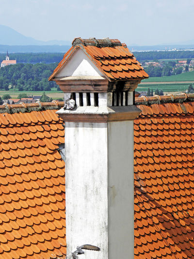 Ptuj,old roofs and chimneys,b,Slovenia,EU Architecture Building Exterior Built Structure Chimneys Day Eu History No People Old Outdoors Panorama Ptuj Roof Sky Slovenia