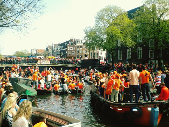 Amsterdam Queensday Boats River Canals Orange