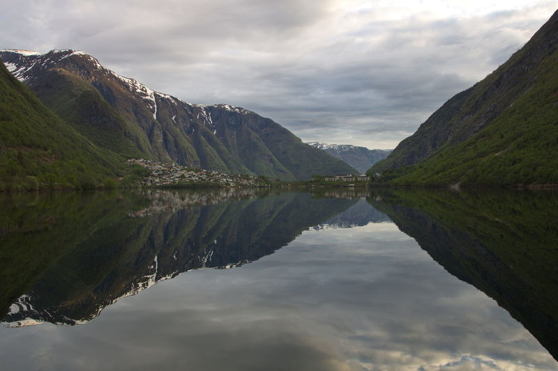 Fjord in evening light Reflection Cloud - Sky Water Sky Tranquility Scenics - Nature Lake Beauty In Nature Tranquil Scene Waterfront Symmetry Mountain Nature Idyllic Non-urban Scene Day No People Mountain Range Outdoors Reflection Lake Fjord Norway Scandinavia