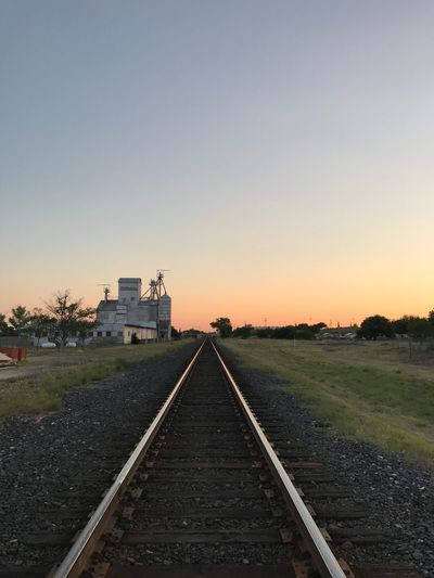 Breathing Space Railroad Track Sunset Rail Transportation Clear Sky No People Outdoors Transportation Tranquil Scene The Way Forward Built Structure Nature Landscape Beauty In Nature Architecture Scenics Sky Day Marfa Texas Texas Skies The Week On EyeEm The Week On EyeEm Colour Your Horizn