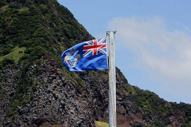 Tristan Da Cunha Tristan Da Cunha Flag Blue Day Flag Flag Of Tristan Da Cunha Low Angle View Most Remote Island No People Outdoors Patriotism Pride South Atlantic Island Waving Wind