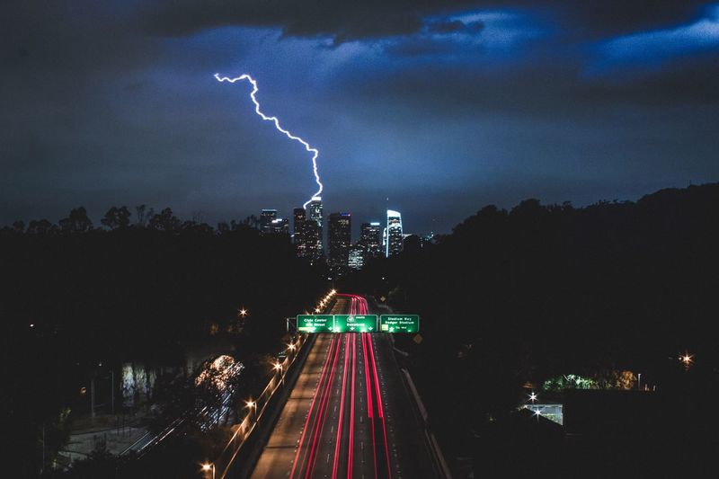 Take advantage of every moment. Lightning Danger Forked Lightning Night Illuminated Cloud - Sky Storm Cloud City Thunderstorm Power In Nature Sky Electricity  Cityscape Long Exposure Architecture Outdoors Mix Yourself A Good Time Building Exterior Built Structure No People Landscape Los Angeles, California Connected By Travel