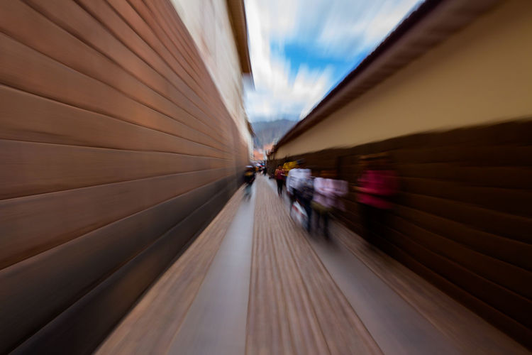 Blurred motion of train moving against sky