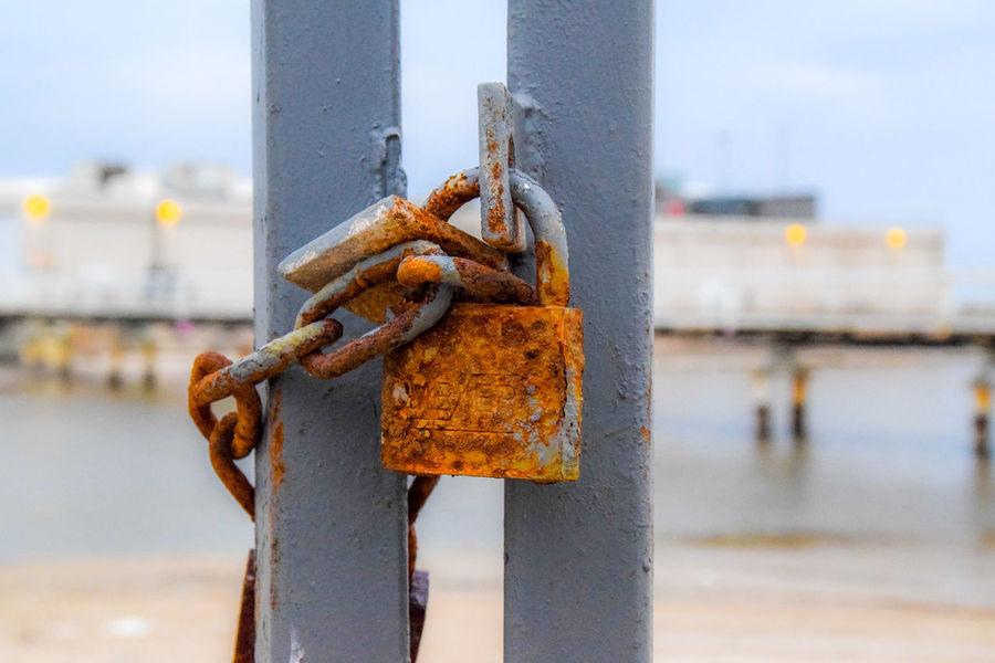 the locked sea Sea Seascape Lock Fance Gate Safe Durability Locked Tide Keyhole Closed