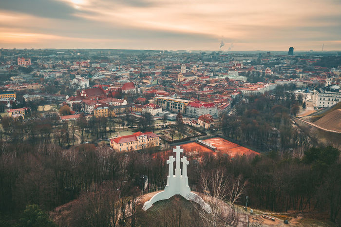Vilnius, winter season, drone aerial view Capture Tomorrow Drone  Aerial View Aerial Mavic 2 Mavic 2 Pro Europe Lietuva Winter Building Exterior Architecture Built Structure City Sky Building Cloud - Sky Residential District Nature Cityscape High Angle View No People Tree Plant Day Outdoors Town House TOWNSCAPE