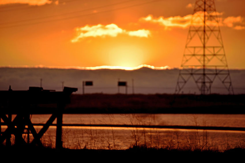 Sunset At Eden Landing 15 Marsh Tidal Wetlands Salt Pond Eden Landing Ecological Reserve Wildlife Refuge Restored Marshlands Delapidated Pier Power Pylon & Lines Telephone Poles Sundown Sunset Sun's Glow Sunset_collection Sunset Silhouettes Hwy Signs Fog Marine Layers! Marin Headlands Reflection Reflections In The Water Sky And Clouds Landscape Nature Nature_collection Beauty In Nature Landscape_Collection Landscape_photography Scenics Foggy Dramatic Sky