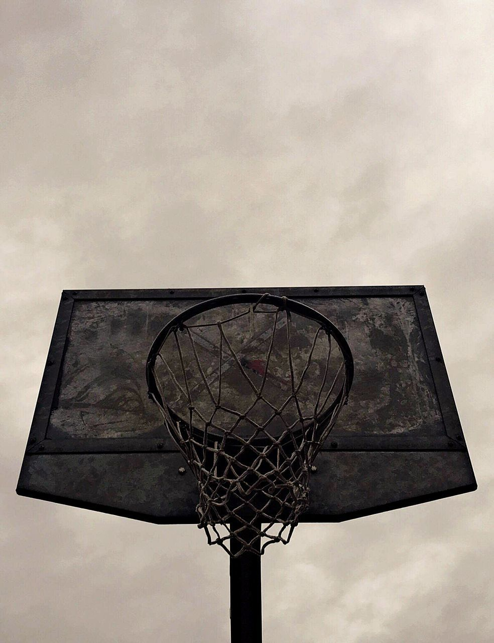 low angle view, basketball, basketball hoop, sport, sky, basketball - sport, no people, outdoors, day, court, close-up