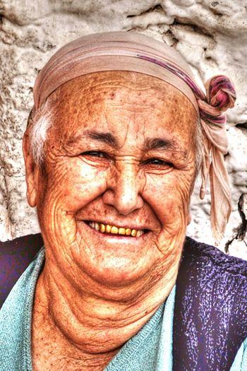 Turkish village lady. People. Gold teeth. Villager. Old lady. Smile.