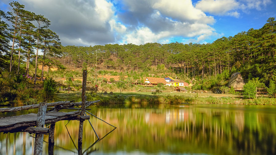 Landscape Reflection Outdoors Nature Tree Mountain Cloud - Sky Lake Vacations Water Sky Beauty In Nature Day No People Tree Dalat - Vietnam Perspectives On Nature