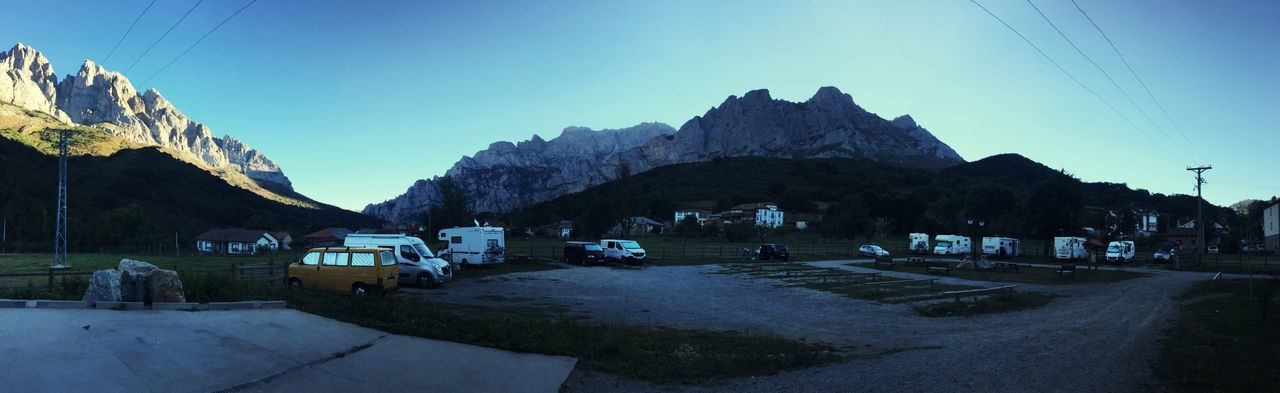 Mountain Sky Built Structure Architecture Transportation Clear Sky Nature Day Outdoors Road Building Exterior Mountain Range Panoramic No People Beauty In Nature Camper Caravan Autocaravana