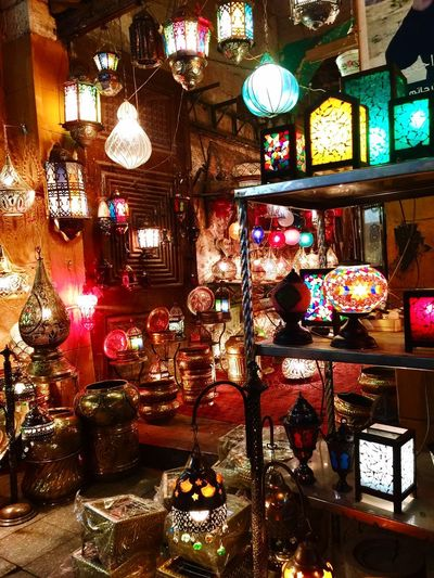 When in Cairo... see the many beautiful handicrafts and delightfully colorful Fanoos. Khan Al Khalili Ramadan Fanoos Colorful Lanterns Colorful Lights Fanoos Variation Light Glass - Material Collection
