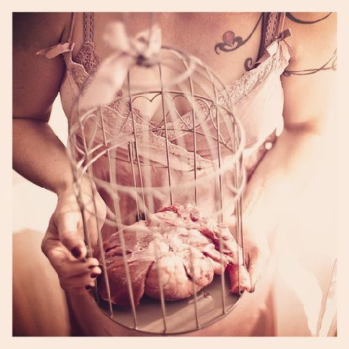 Photo artwork album Clotilde Moulin Dontgobreakingmyheart Romantic Vintage Girl meat cage work theglint