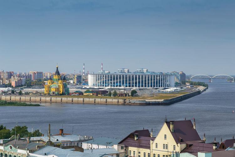 View of the confluence of the oka and volga rivers, nizhny novgorod, russia