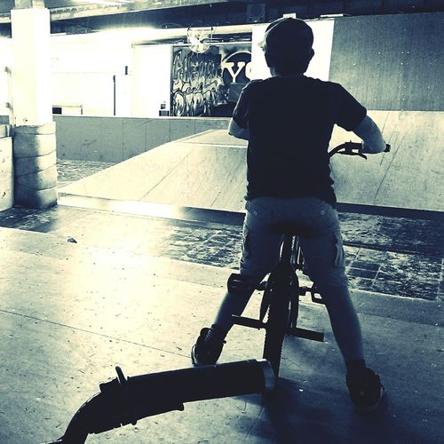 Fatherhood Moments firstdayattheskatepark Firstdayattheskatepark Bicycle Leisure Activity Lifestyles Skatepark