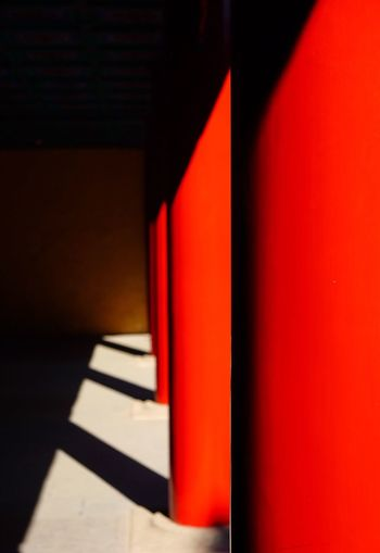 Red Indoors  Shadow Sunlight Built Structure No People Architectural Column