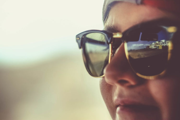 Close-up of man wearing sunglasses
