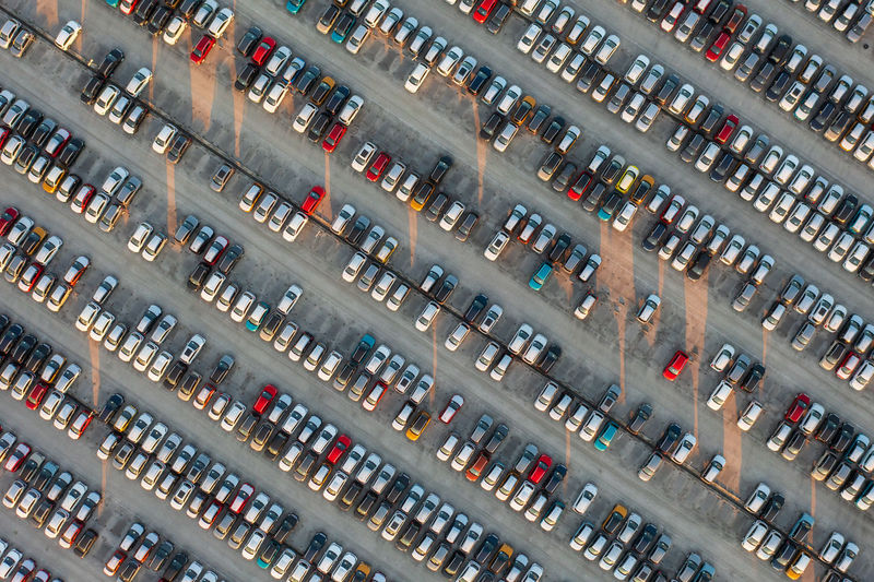 High angle view of cars in city